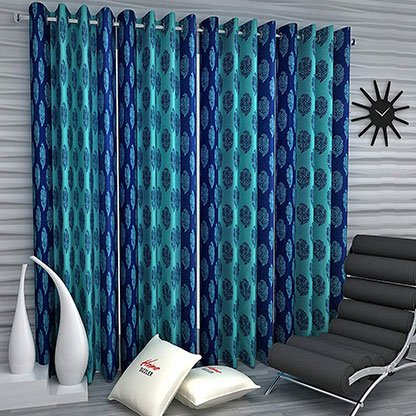 Blue Polyester Curtain