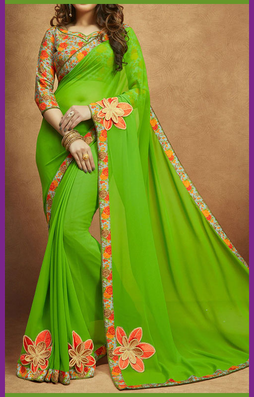 Floral Embroidered Saree