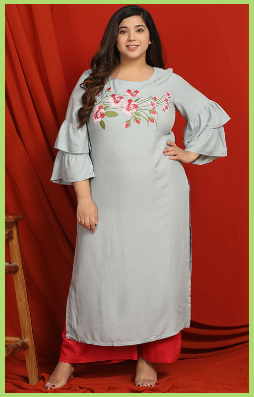 Ice Blue Floral Embroidered Kurti