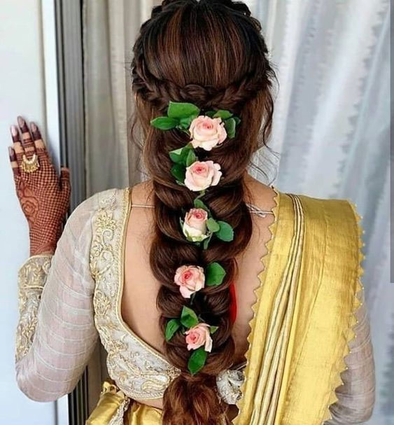Messy Hair Braids On Lehenga