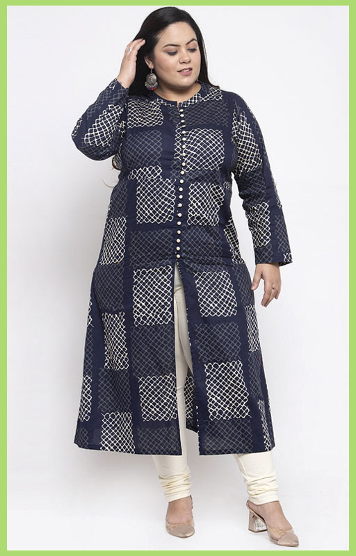 Navy Blue And Off White Printed Kurti