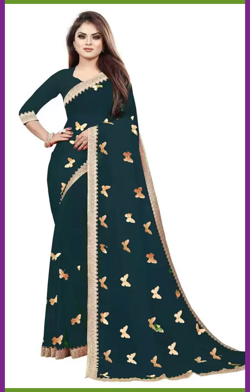 Peacock Green Butterfly Saree