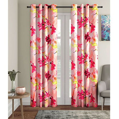 Pink Floral Printed Curtain