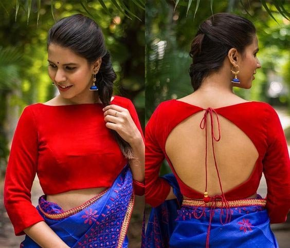 Red Boat Neck Front And Back Blouse Design