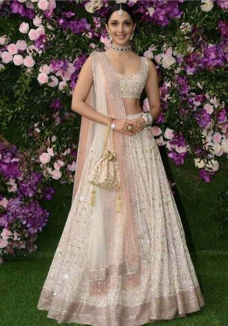 kiara advani in peach lehenga choli