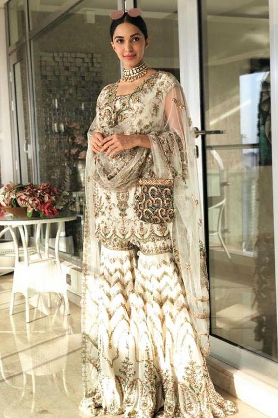 kiara advani white work gharara