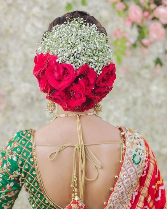 Hair Bun With Red Roses