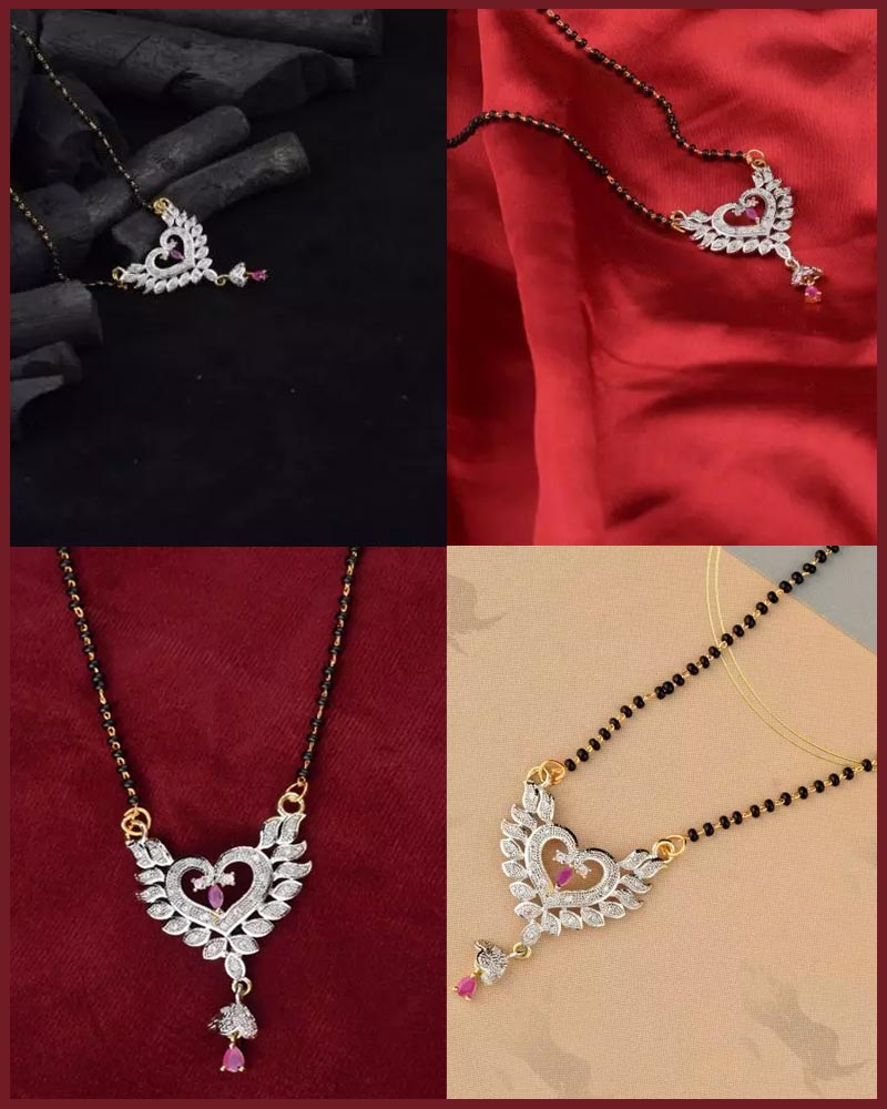 Heart Shaped Silver Plated Mangalsutra