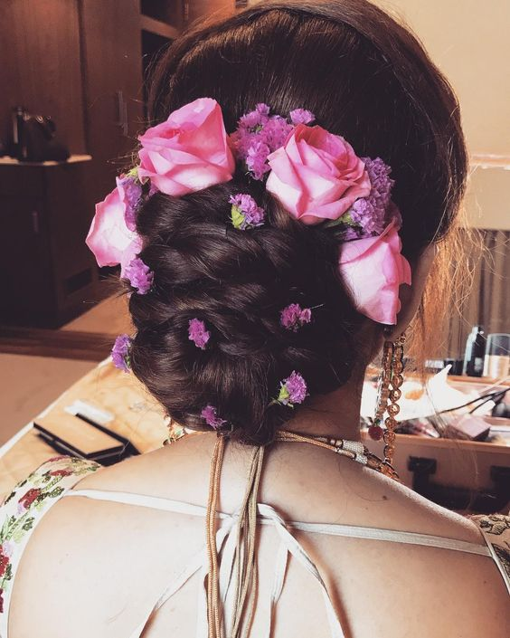 Pink Flower Hairstyle