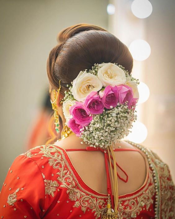 Rose And White Flower Floral Hairstyle