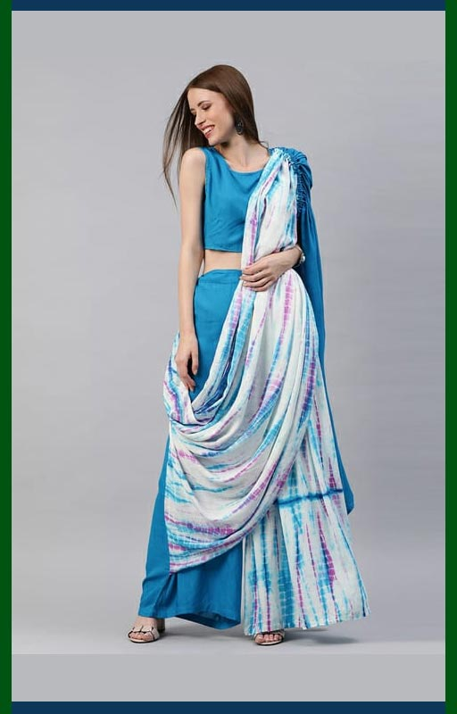 Blue Printed Ready To Wear Saree