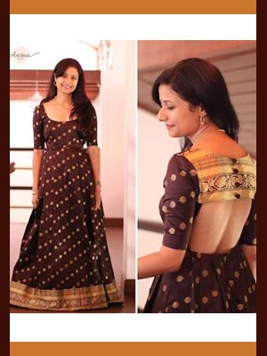 Brown Saree Gown