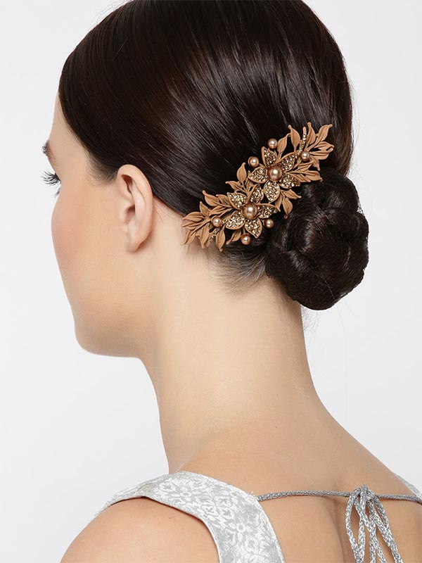 Brown Stone And Pearl Studded Floral Pin