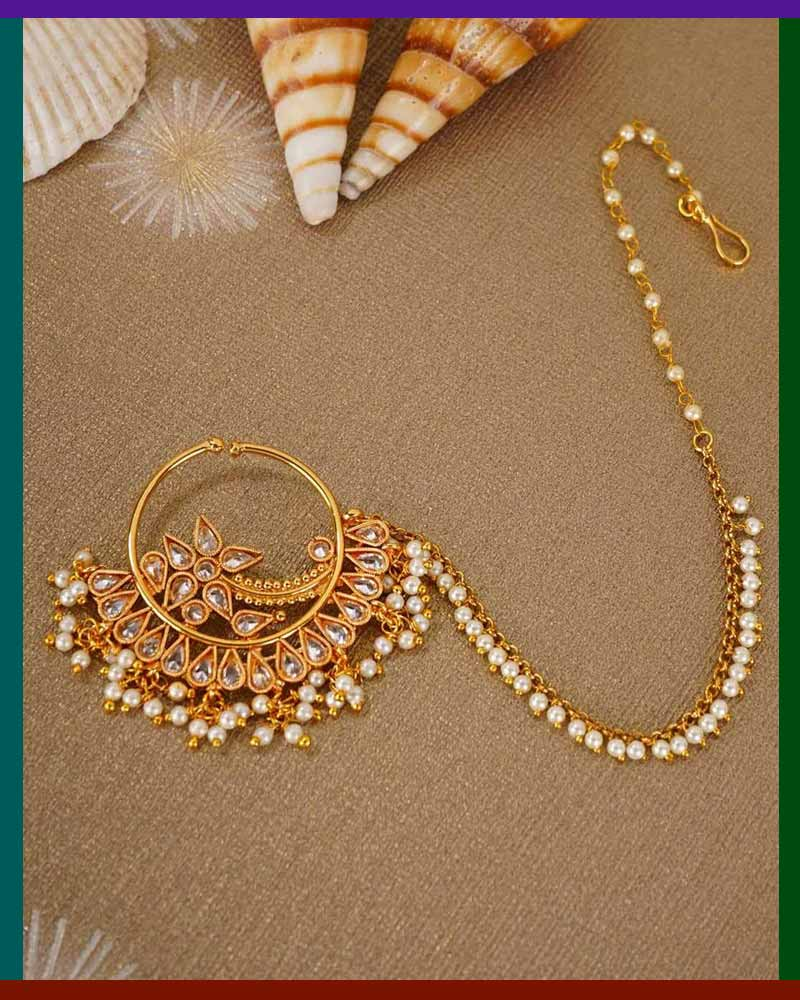Gold Plated Stone Studded Nath With Pearl Chain
