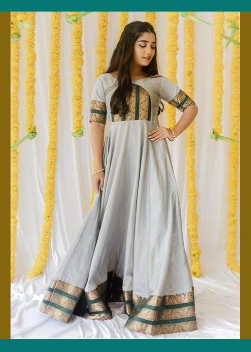 Grey And Green Saree Gown