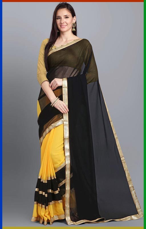 Half And Half Saree With Lace Border