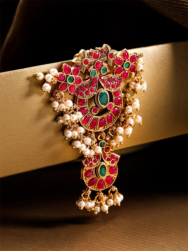 Magenta And Green Gold Plated Stone Studded Hair Pin