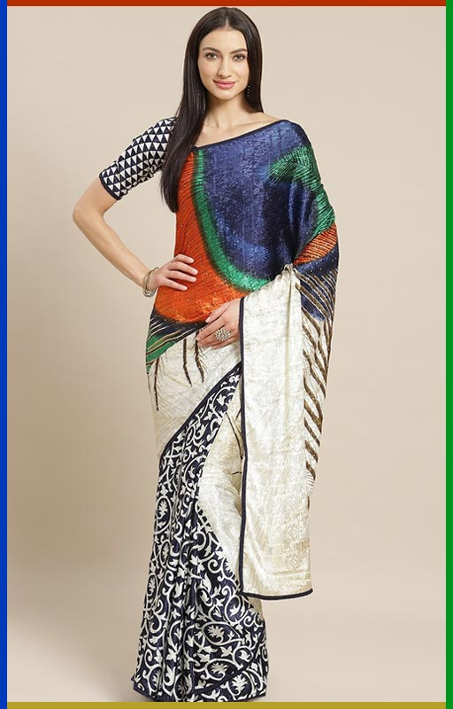 Navy Blue And Off White Printed Saree