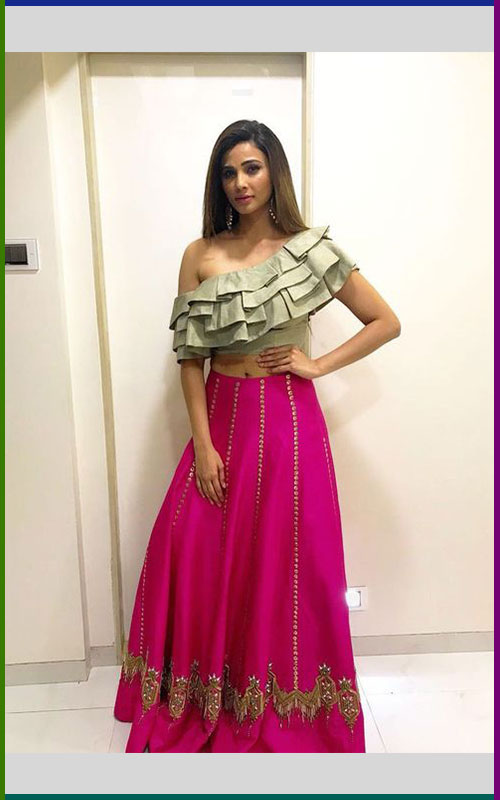 One Shoulder Blouse And Pink Lehnga