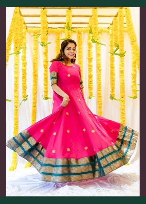 Pink And Green Saree Gown