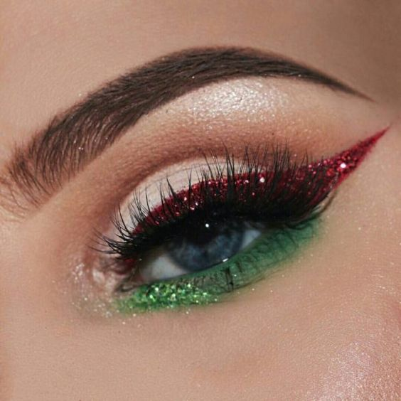 Red And Green Eye Makeup