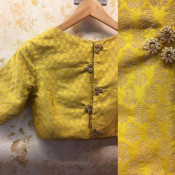 Brocade Blouse with Floral Buttons