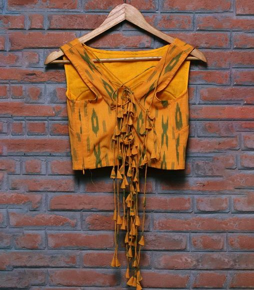 Boat Neck Blouse with Woven Pattern - Back Design