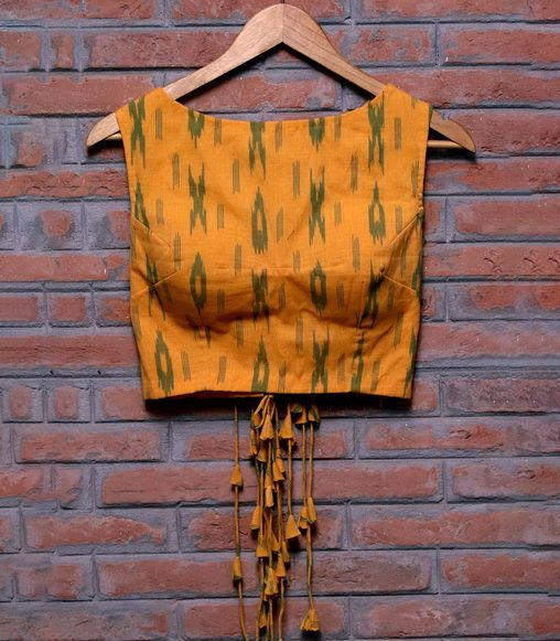 Boat Neck Blouse with Woven Pattern - Front Design