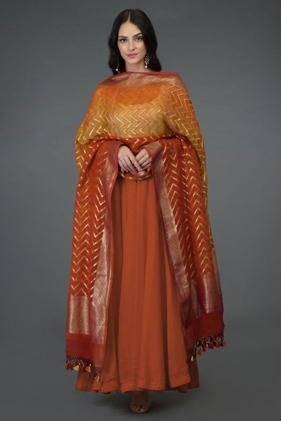 Net Dupatta with Golden Embroidery