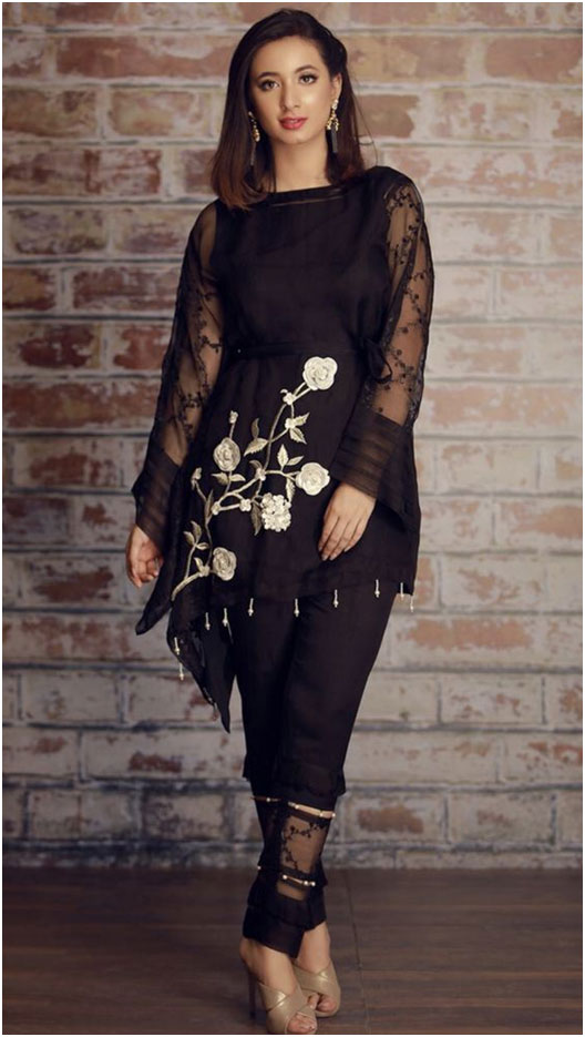 Black Suit With Transparent Sleeves