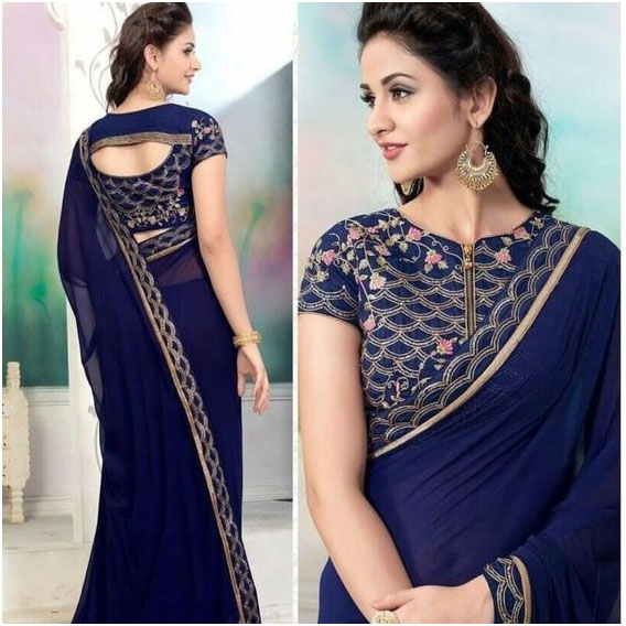 Blue Embroidered Blouse Design