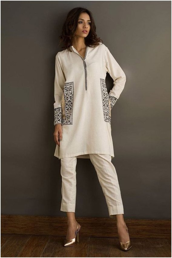 White Collar Style Kurti With Ankle Length Straight Salwar