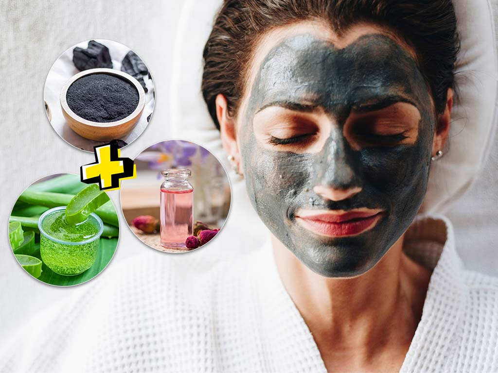 charcoal aloevera gel rose water face mask for acne