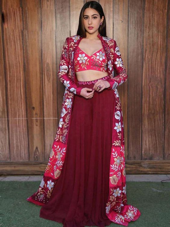 Sara Ali Khan in Red Front Cut Jacket and Crop Top