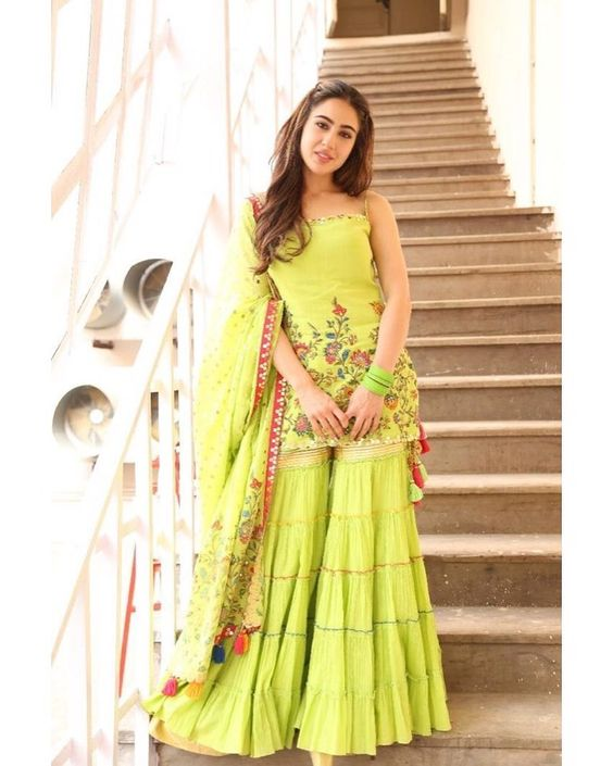 sara ali khan in green embroidered suit