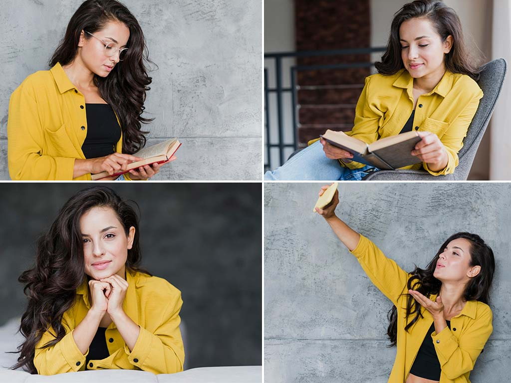 woman in different poses for photos