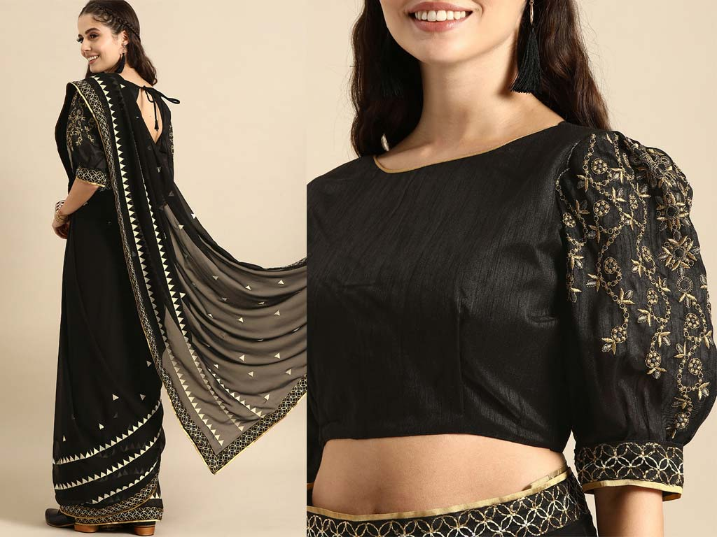 Black Color Gold Embroidered Saree With Blouse