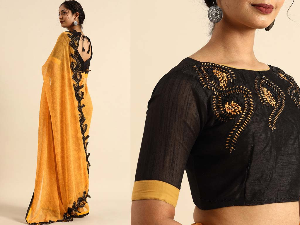 Mustard Yellow Georgette Saree With Blouse