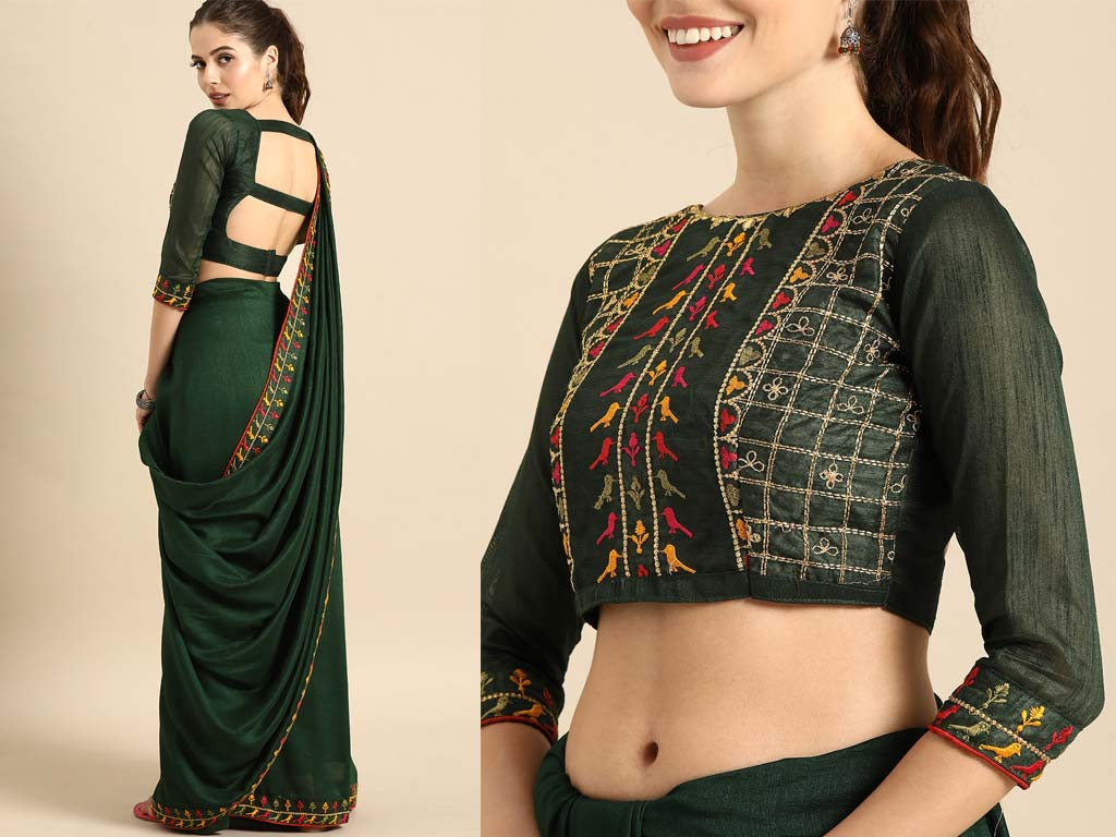 Olive Green Saree With Blouse
