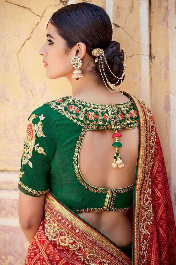 Bottle Green Blouse With Red Embroidery