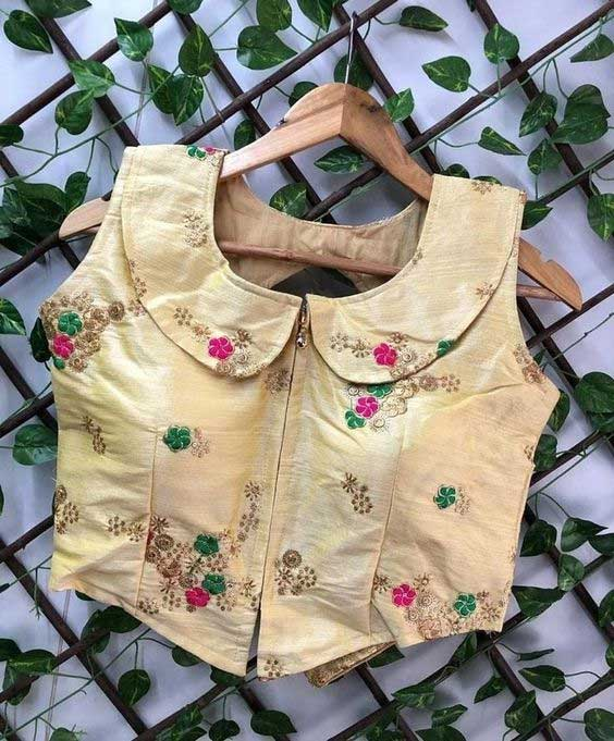 Front Chain Peter Pan Collar Neck Blouse Design