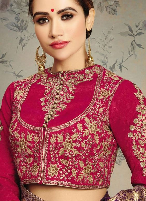 High Neck Embroidered Blouse