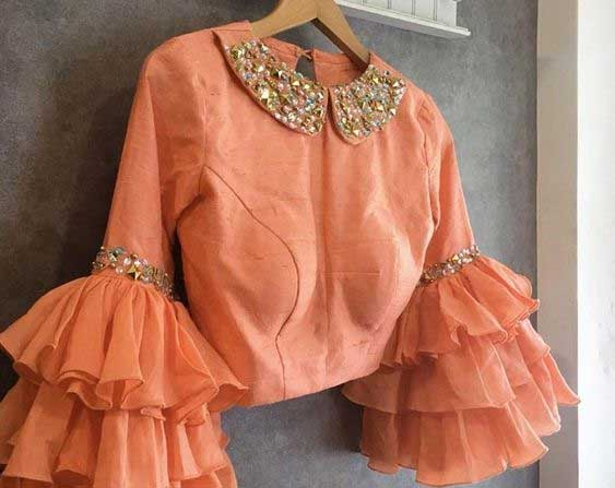 Peach Blouse With Peter Pan Collar