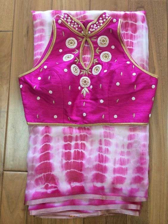 Pink High Neck Jeweled Blouse Design