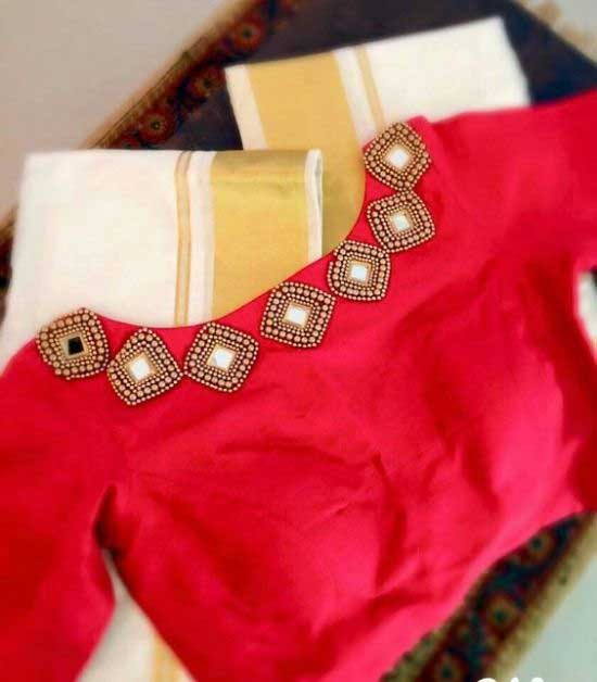 Red Jeweled Blouse Design
