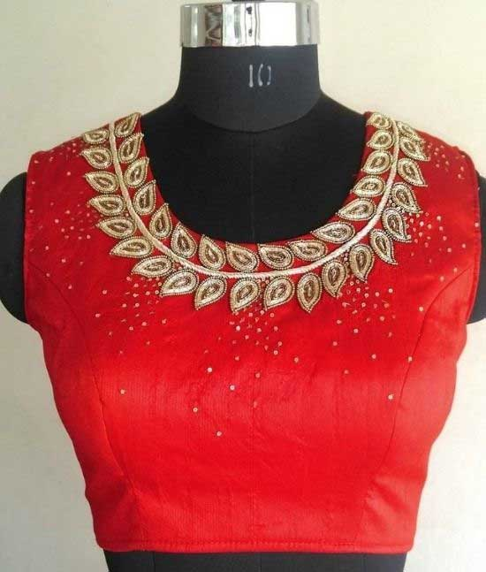 Red Round Neck Jeweled Blouse Design