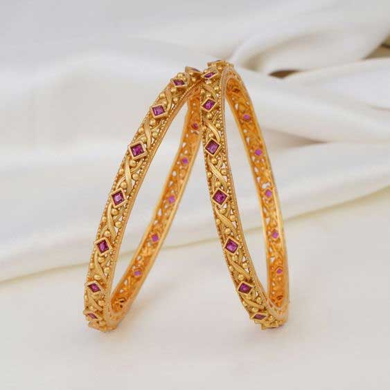 Ruby Studded Gold Plated Bangle