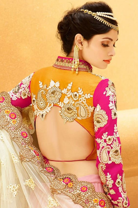 Yellow And Pink Back Blouse Design